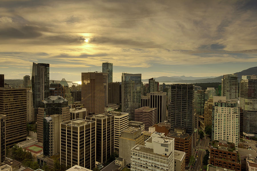 Vancouver Photograph - Vancouver Bc Cityscape During Sunset by David Gn