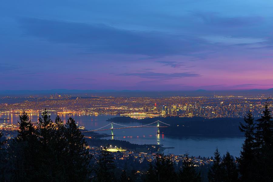 Vancouver Photograph - Vancouver Bc Cityscape Lions Gate Bridge Sunset by David Gn