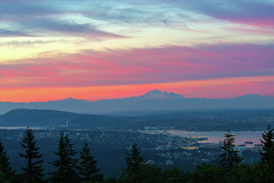 Mount Baker Photograph - Vancouver Bc Cityscape With Cascade Range Morning View by David Gn