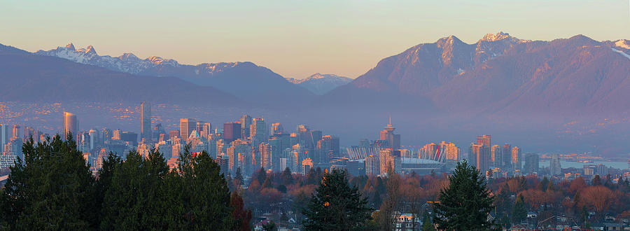 Vancouver Photograph - Vancouver Bc Downtown Cityscape At Sunset Panorama by David Gn