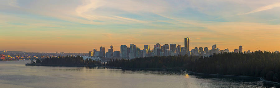 Vancouver Photograph - Vancouver Bc Skyline Along Stanley Park At Sunset by David Gn