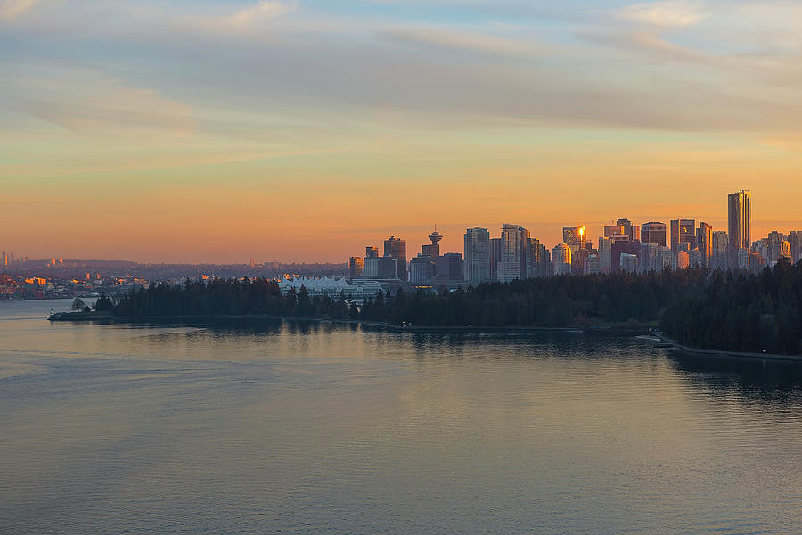 Vancouver Photograph - Vancouver BC Skyline and Stanley Park at Sunset by David Gn