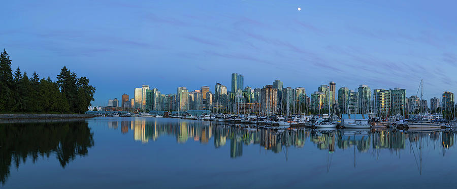 Vancouver Photograph - Vancouver Bc Skyline During Blue Hour Panorama by David Gn