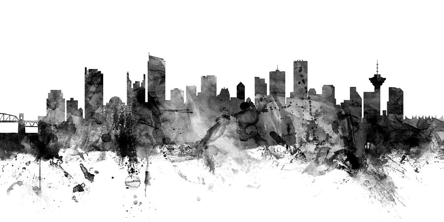 Vancouver Digital Art - Vancouver Canada Skyline Panoramic by Michael Tompsett