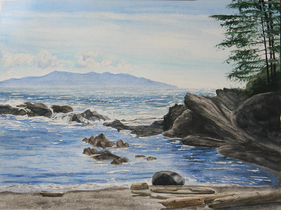 Seascape Painting - Vancouver Island by Monika Degan