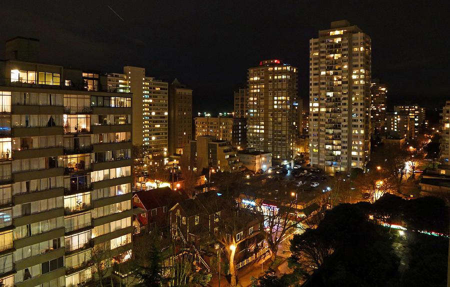 Night Photograph - Vancouver Skyline by Nancy Harrison