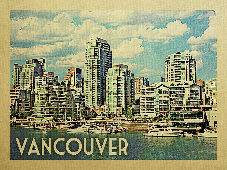 Vancouver Digital Art - Vancouver Travel Poster by Flo Karp