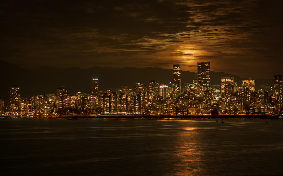 Supermoon Photograph - Vancouvers Supermoon by Mohsen Kamalzadeh