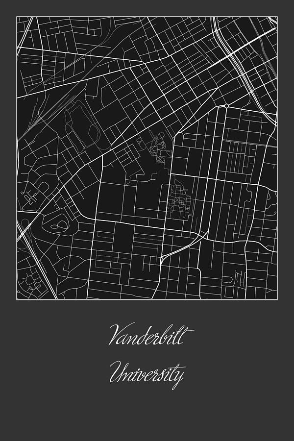 Vanderbilt Street Map - Vanderbilt University Nashville Map Digital ...
