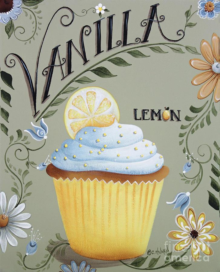 Cupcake Painting - Vanilla Lemon Cupcake by Catherine Holman
