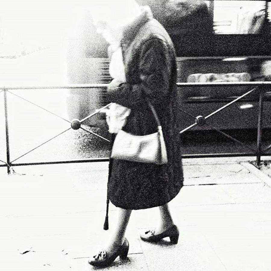 Blackandwhite Photograph - Vanishing Lady #woman #city #walking by Rafa Rivas