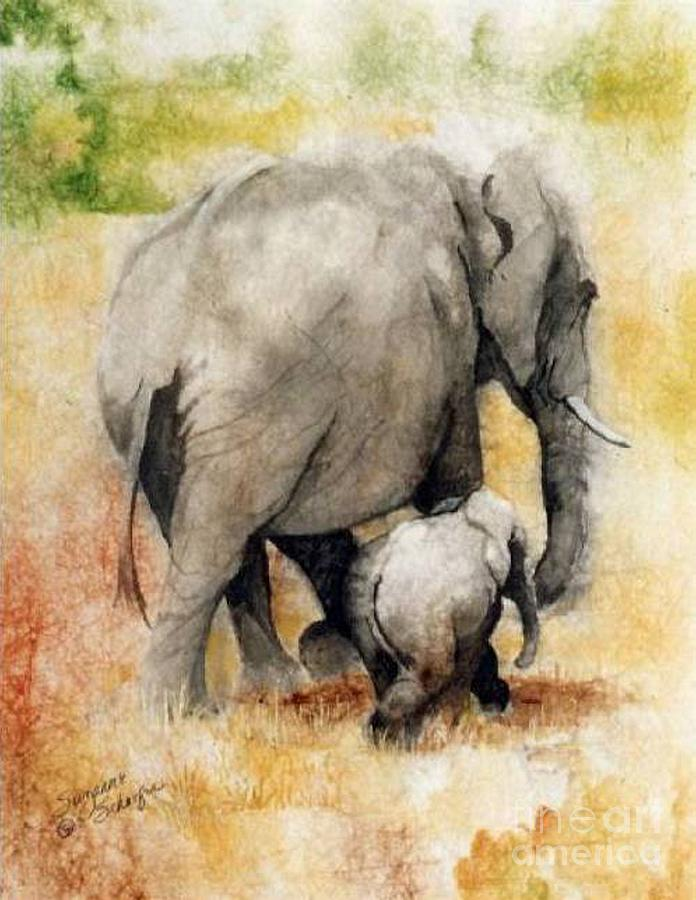 Elephants Painting - Vanishing Thunder Series - Mama And Baby Elephant by Suzanne Schaefer