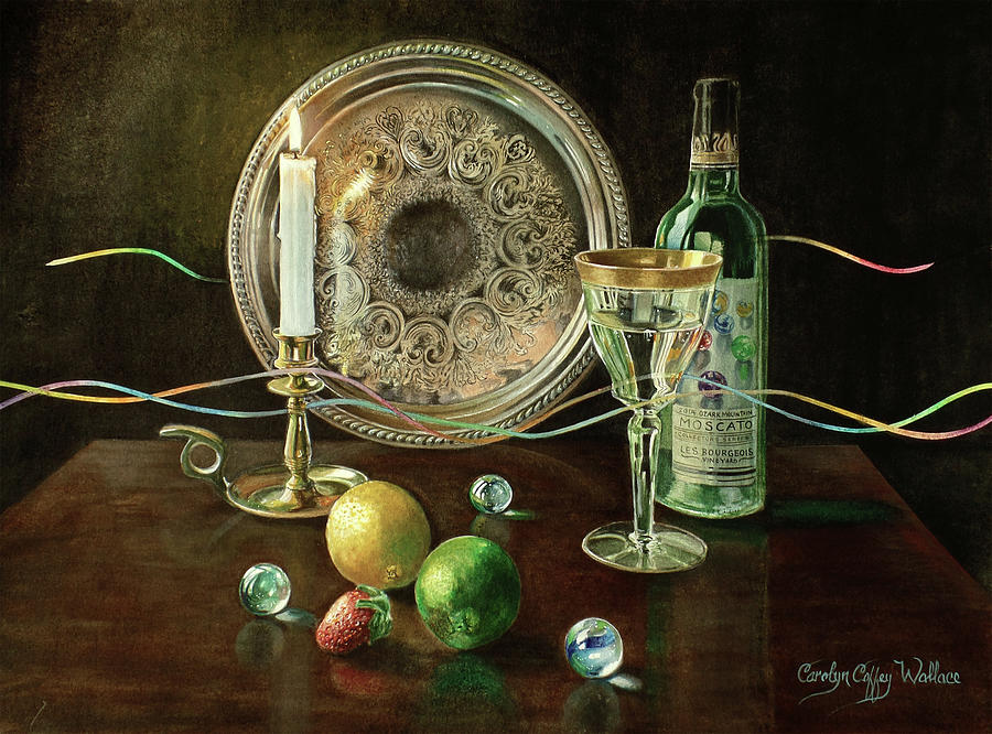 Vanitas Still Life by Candlelight with Les Bourgeois Wine by Carolyn Coffey Wallace