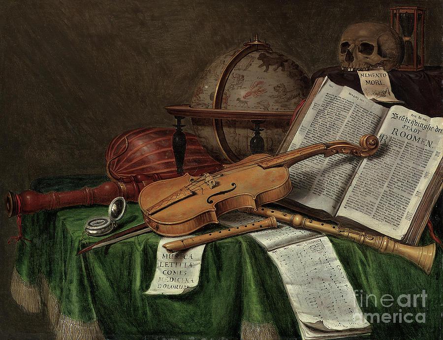 Vanitas Painting - Vanitas Still Life  by Edwaert Colyer or Collier