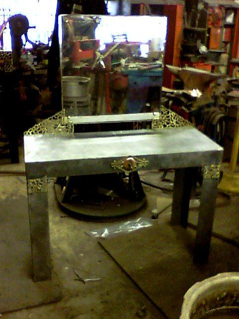 Steel. Brass Sculpture - Vanity Without Shelves by Don Thibodeaux