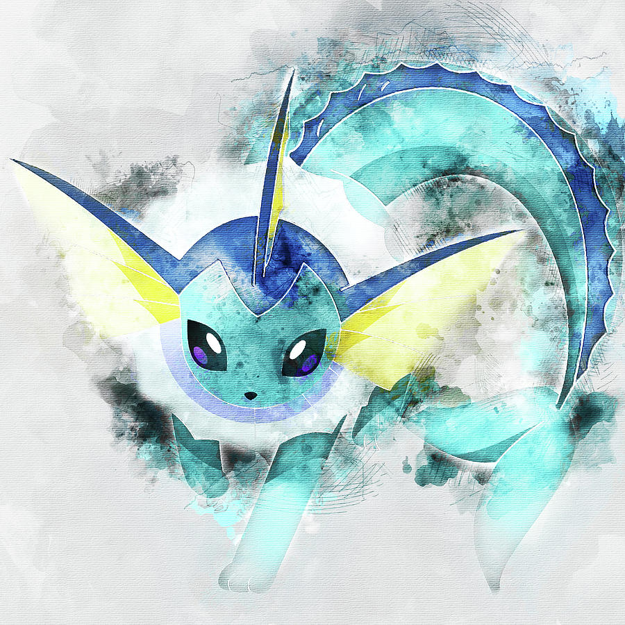 5bbbd22b Pokemon Painting - Pokemon Vaporeon Abstract Portrait - By Diana Van by Diana  Van