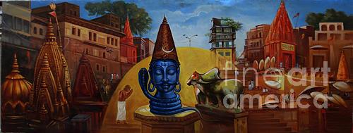 Landscape Painting - Varanasi Ghats by Anil Kumar