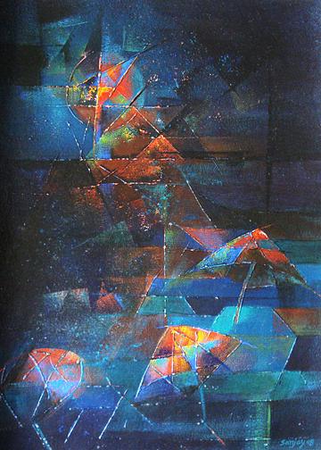 Oil Painting Painting - Varanasi Ghats8 by sanjay Kumar