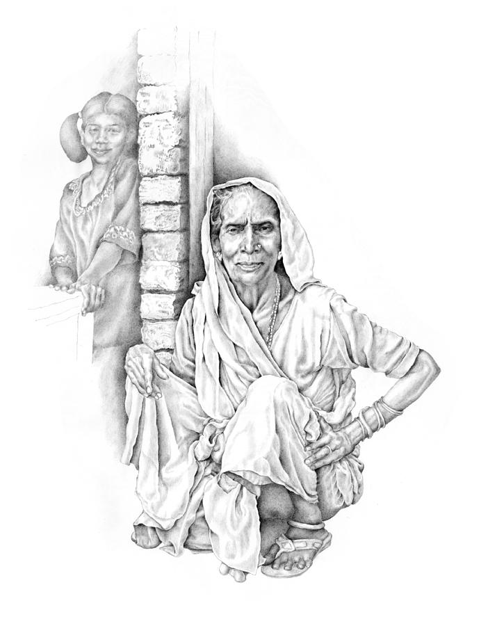 Portrait Drawing - Varanasi Woman by Karla Beatty