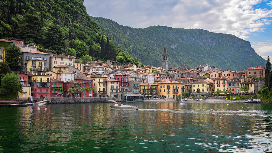 Joan Carroll Photograph - Varenna Italy Old Town Waterfront by Joan Carroll