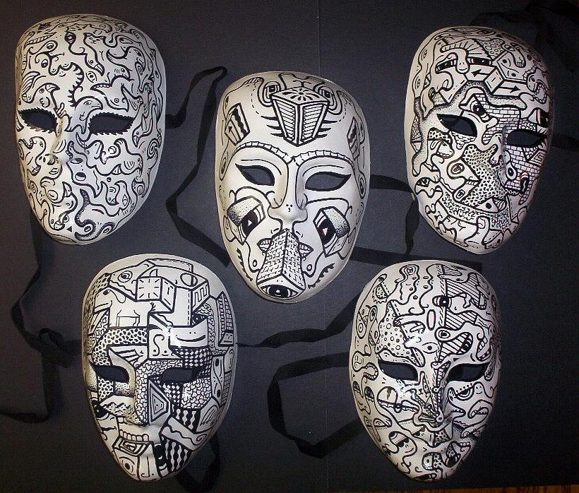 Masks Drawing - Various Masks by Kelin Kreider