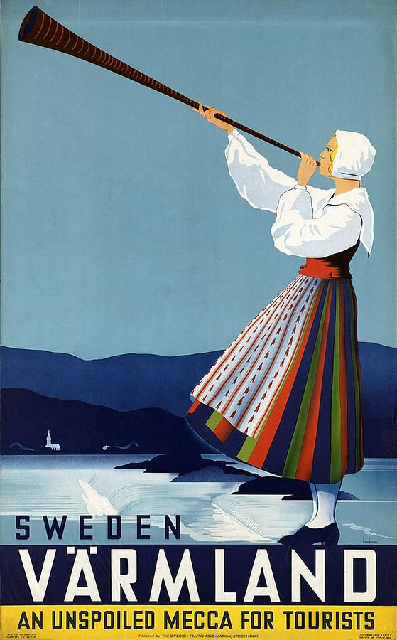 Varmland, Sweden - Lady In Traditional Dress Blowing Horn - Retro Travel Poster - Vintage Poster Mixed Media