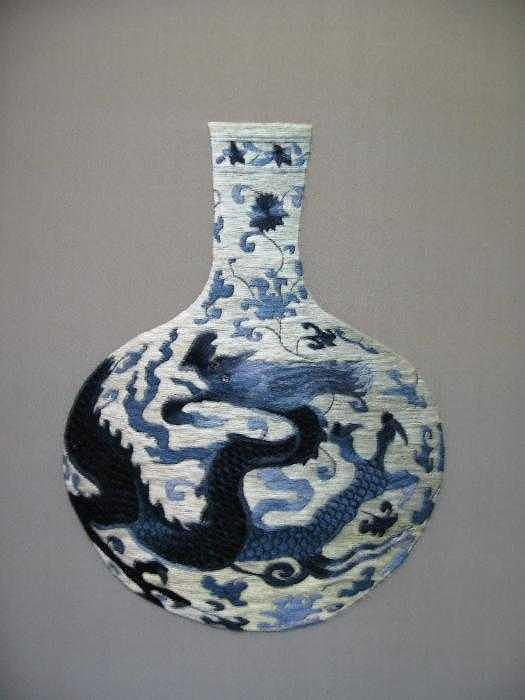 Handmade Silk Embroidery Tapestry - Textile - Vase-1 by Xiaohuan Sheng