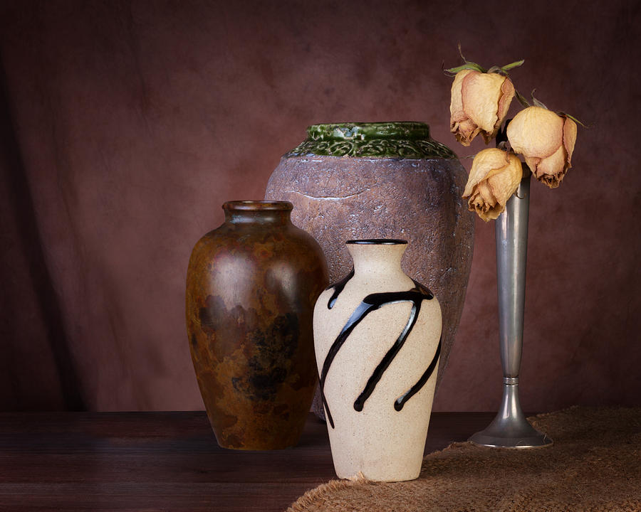 Brown Photograph - Vase And Roses Still Life by Tom Mc Nemar