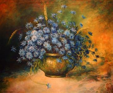Floral Painting - Vase Of Blue by Olah Pavel