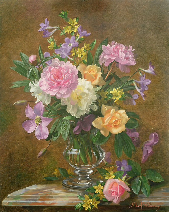 Vase Of Flowers Painting By Albert Williams