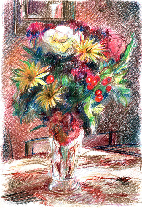 Vase Drawing - Vase Of Flowers by Anna Shipstone