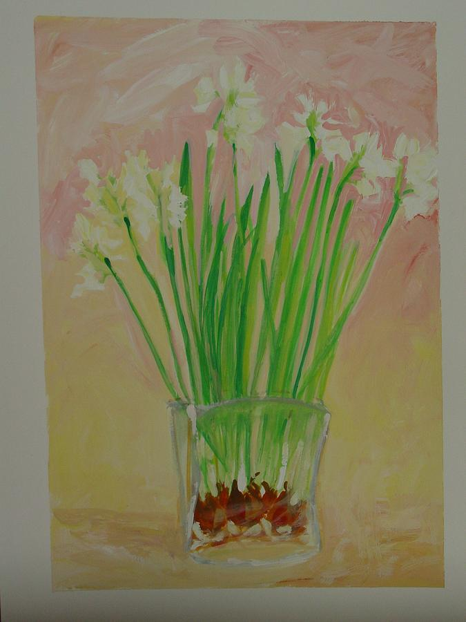 Nature Painting - Vase Of Paperwhites by Marianne Neill