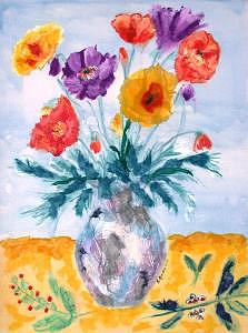 Flowers Mixed Media - Vase Of Poppies by Sue Gordon