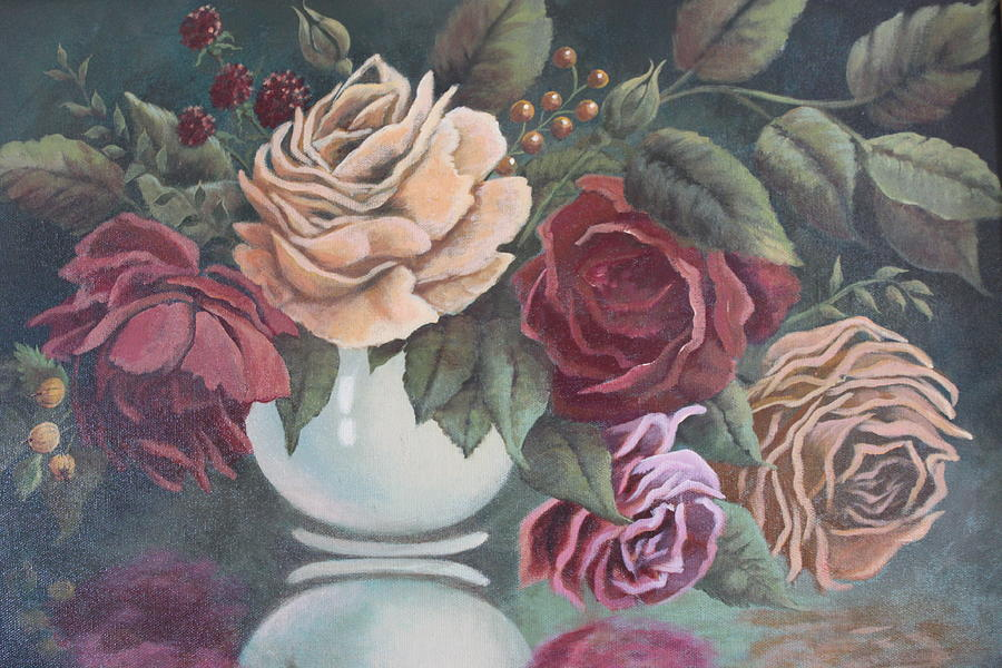 Roses Painting - Vase Of Roses by Diana Miller