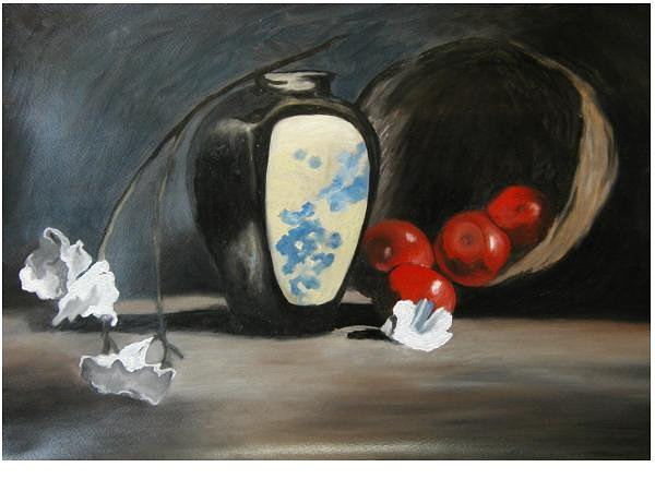 Still Life Painting - Vase With Apples by Angelo Thomas