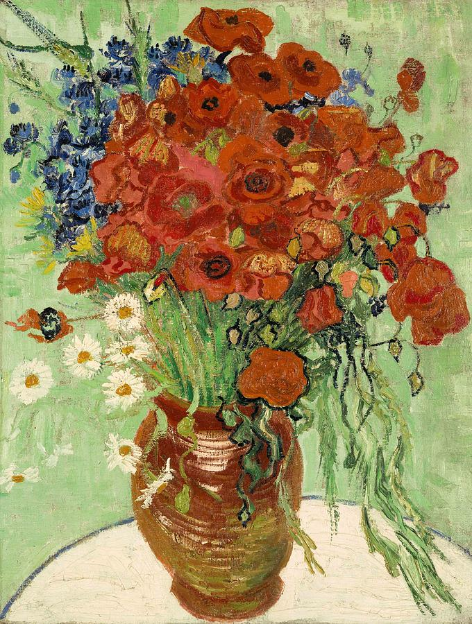 Vincent Van Gogh Painting - Vase With Daisies And Poppies by Van Gogh