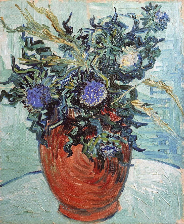 Vase With Flowers And Thistles Painting By Vincent Van Gogh