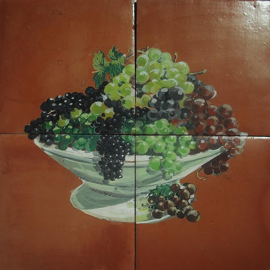 Food Fruits  Table Grapes Ceramic Art - Vase With Grapes by Andrew Drozdowicz
