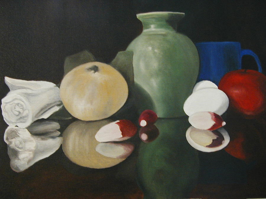 Still Life Painting - Vase With Radishes by Angelo Thomas