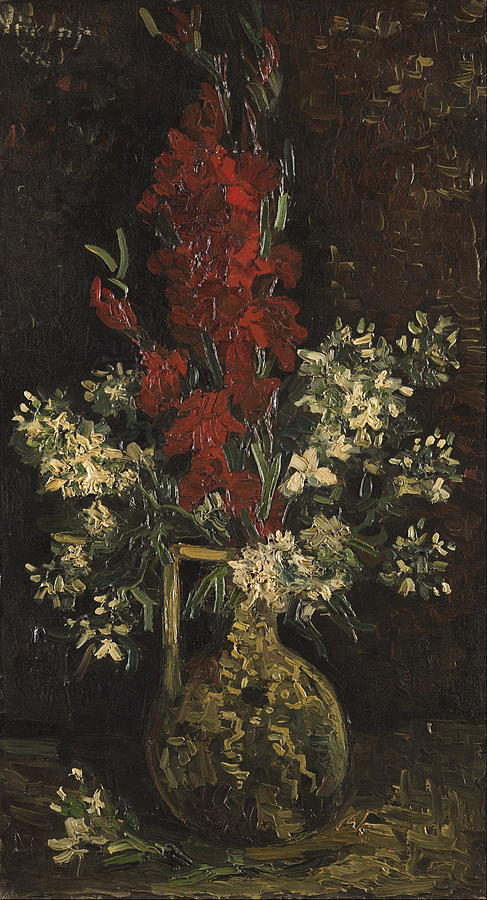 Vase With Red And White Flowers 1886 Painting By Vincent Van Gogh