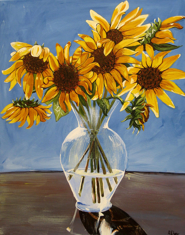 Vase With Sunflowers Painting By Rachelle Dyer
