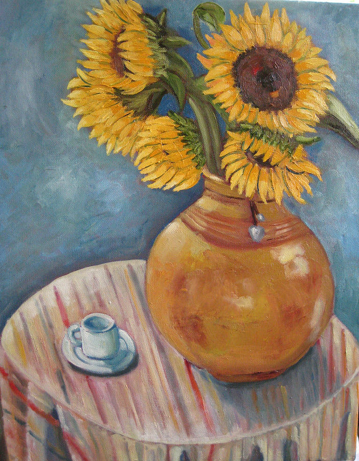 Still Life Painting - Vase With Sunflowers by William Kairala