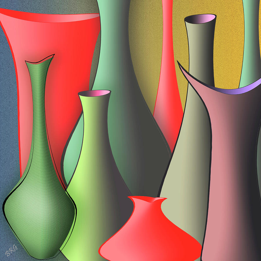 Red And Green Digital Art - Vases Still Life by Ben and Raisa Gertsberg
