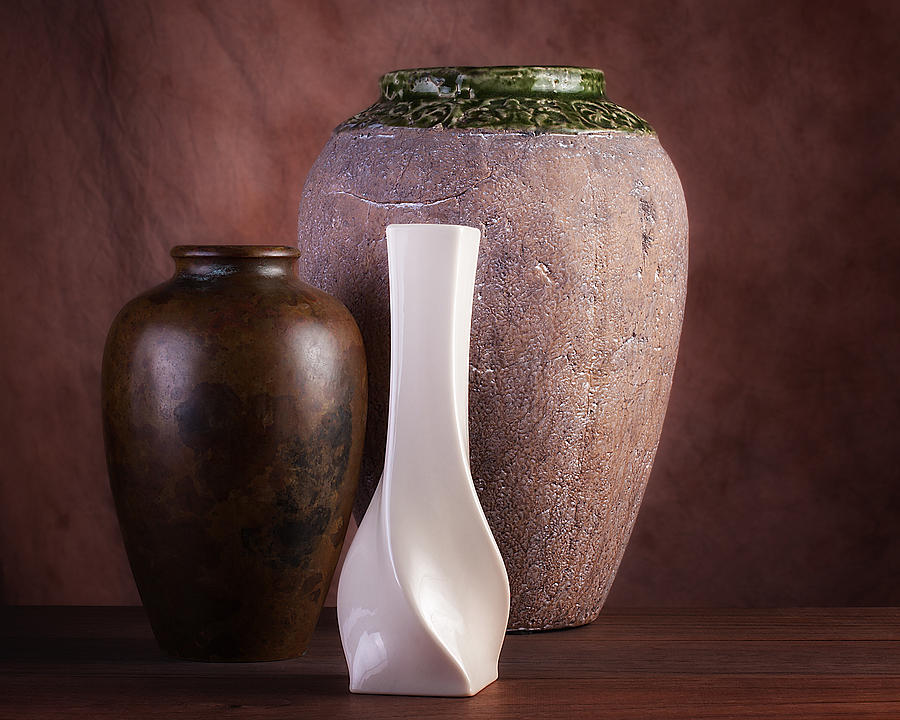 Brown Photograph - Vases With A Twist by Tom Mc Nemar