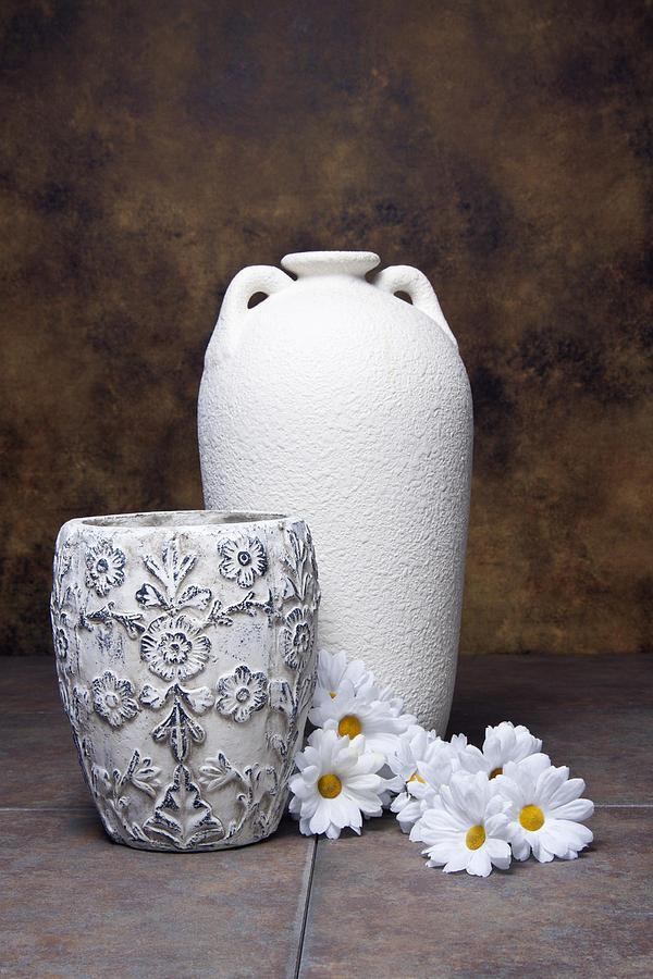 Vase Photograph - Vases With Daisies I by Tom Mc Nemar