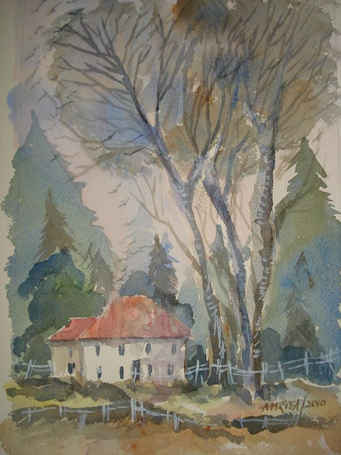 Hut Painting - Vasilisas Hut by Amrita Puntambekar