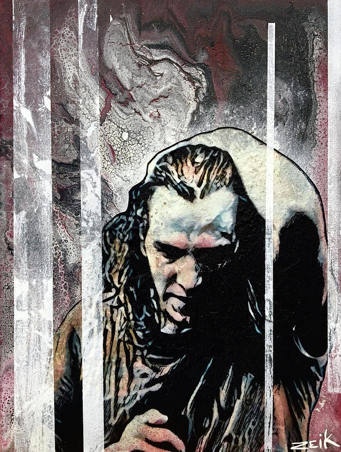 Kurt Cobain Painting - Vedder - Black by Bobby Zeik