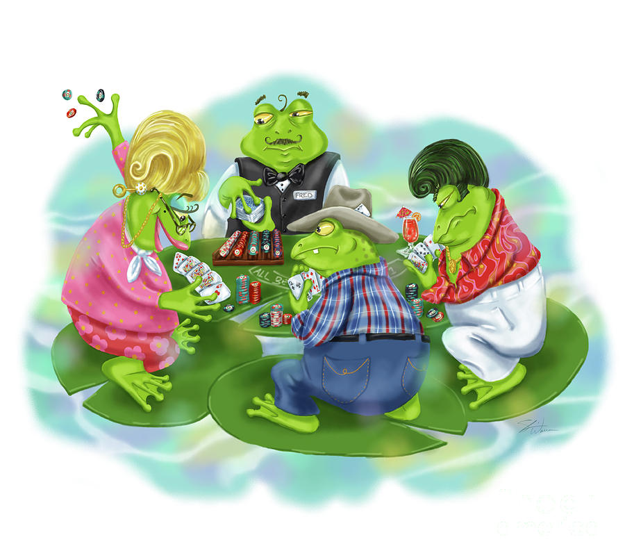 Vegas Frogs Playing Poker by Shari Warren