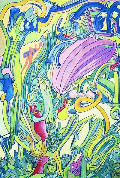 Vegetables Painting - Vegetable Garden.   2001 by Lao Dan