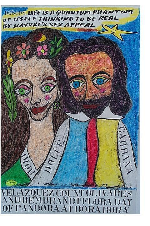 Velazquez Count Olivares And Rembrandt Flora Day Of Pandora At Bora Bora Pastel by Francesco Martin